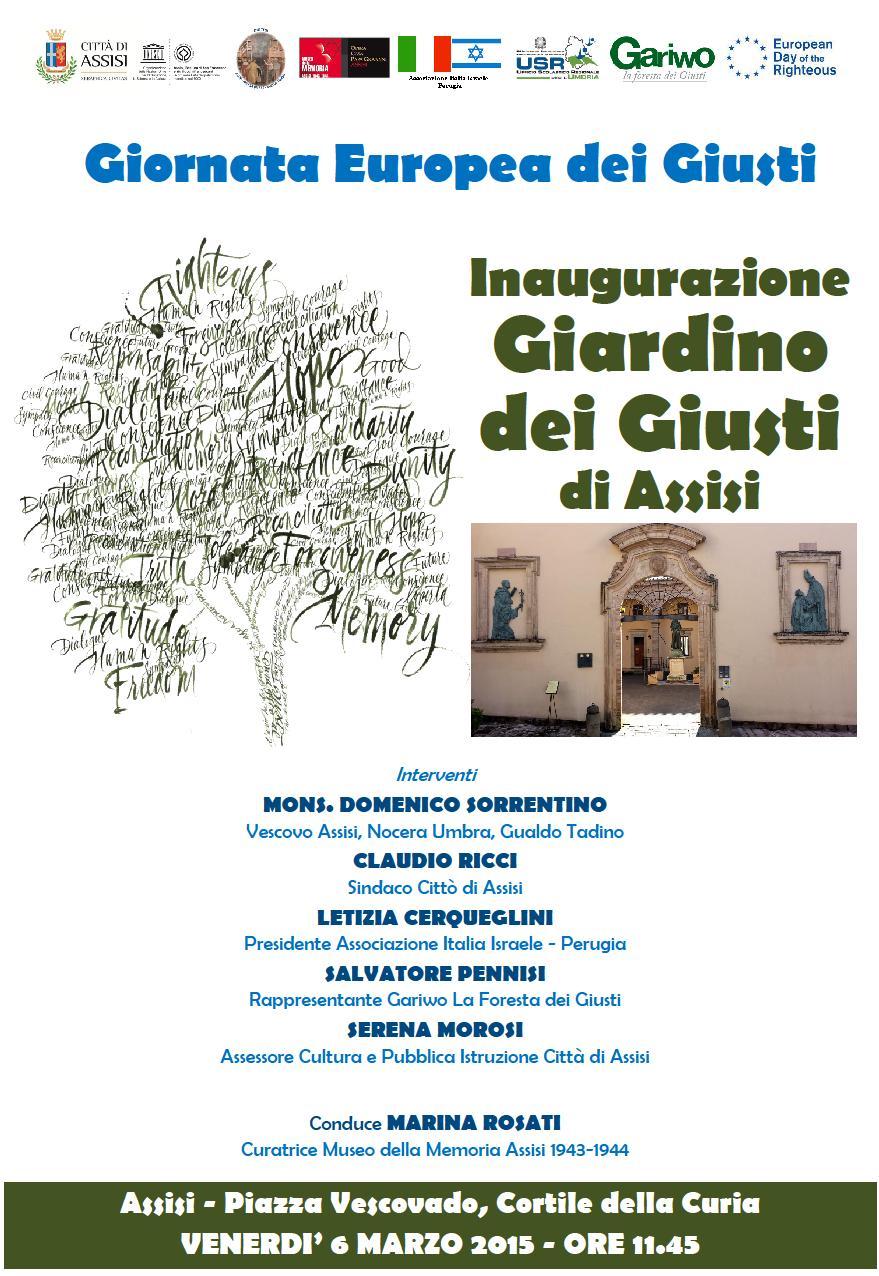 Inaugurazione ad assisi del giardino dei giusti umbria - Il giardino dei ciliegi assisi ...